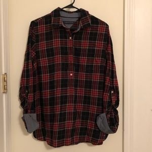 Tommy Hilfiger Half Button Down Plaid Shirt
